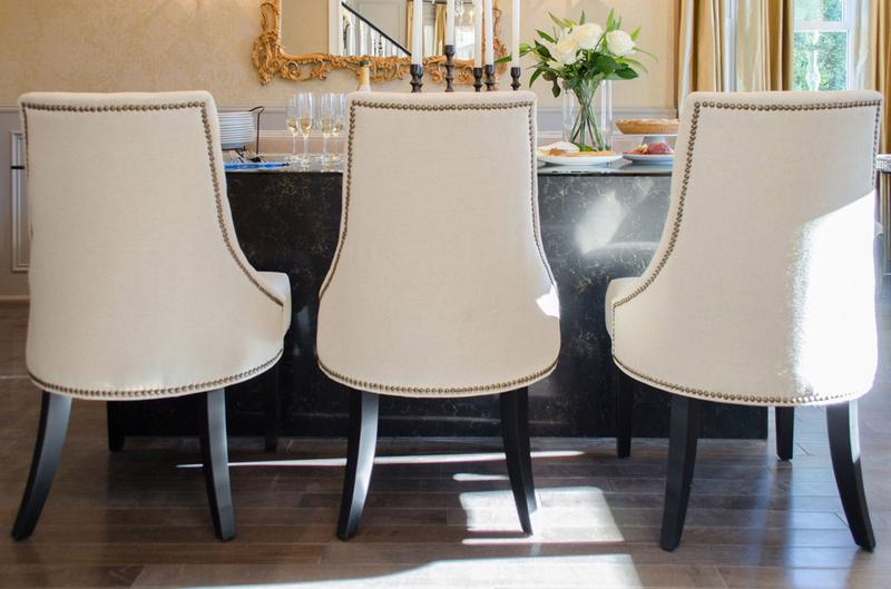 White Chairs With Upholstery In The Dining Room