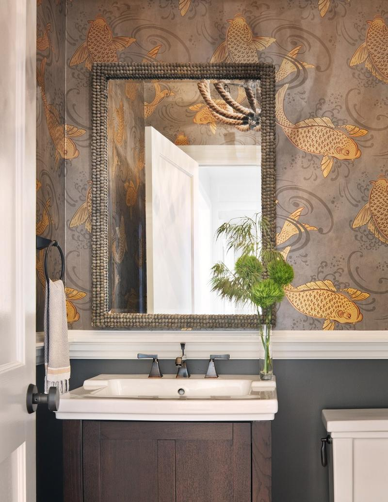 The Rustic Wallpaper In The Bathroom