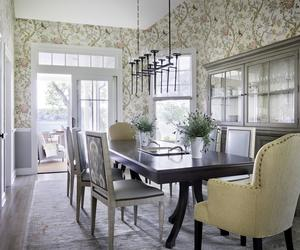 Dining Room With Yellow Wallpaper